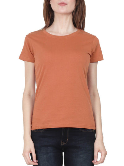 Plain Women's Saffron Half Sleeve Round Neck T-Shirt - DrunkenMonk