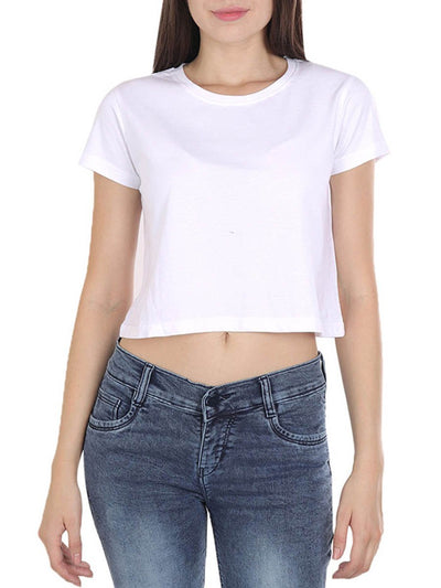 Plain Women's White Half Sleeve Crop Top - DrunkenMonk