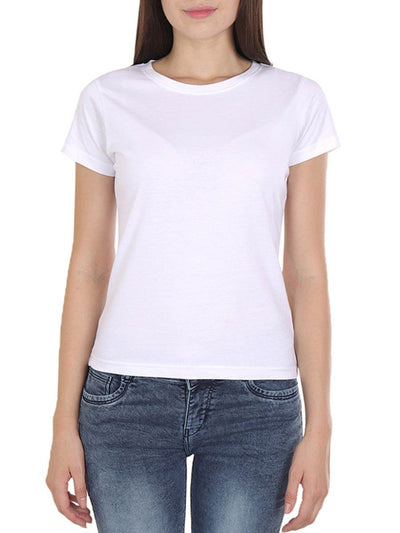 Plain Women's White Half Sleeve Round Neck T-Shirt - DrunkenMonk