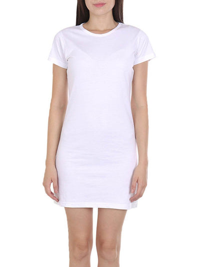 Plain Women's White Half Sleeve T-Shirt Dress - DrunkenMonk