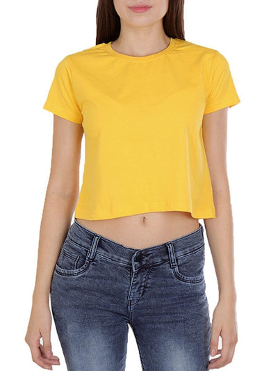 Plain Women's Yellow Half Sleeve Crop Top - DrunkenMonk