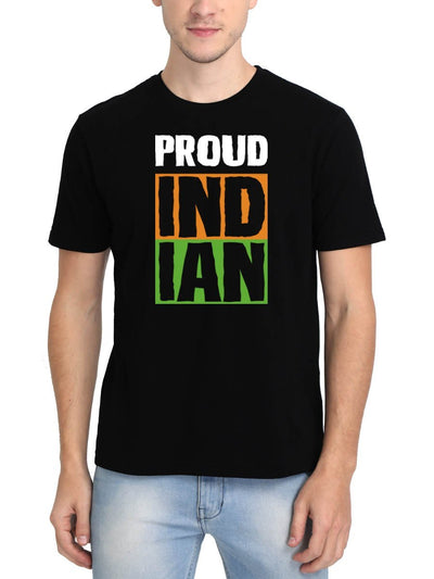 Proud Indian Men's Black Round Neck T-Shirt - DrunkenMonk
