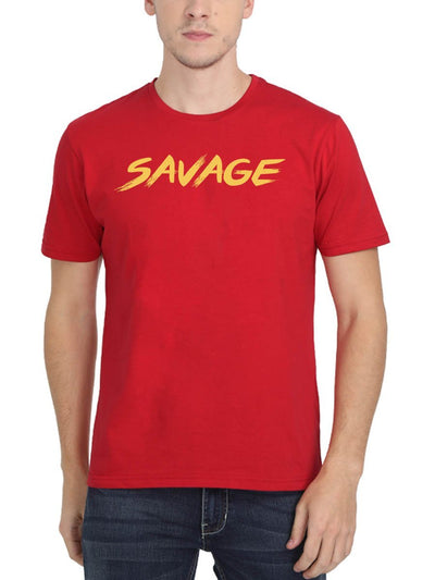Savage Men's Red Half Sleeve Round Neck T-Shirt - DrunkenMonk