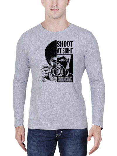 Shoot at Sight Photography Men's Grey Melange Full Sleeve Round Neck T-Shirt - DrunkenMonk