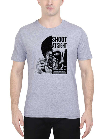Shoot at Sight Photography Men's Grey Melange Half Sleeve Round Neck T-Shirt - DrunkenMonk
