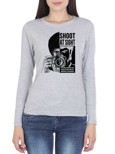 Shoot at Sight Photography Women's Grey Melange Full Sleeve Round Neck T-Shirt - DrunkenMonk