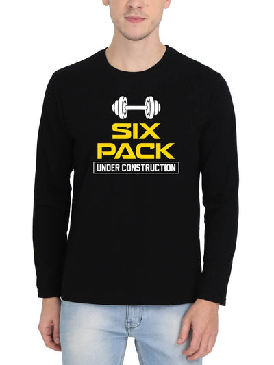Six Pack Under Construction Men's Black Full Sleeve Round Neck T-Shirt - DrunkenMonk