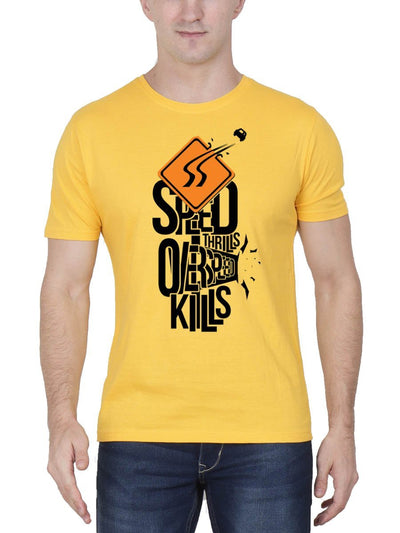 Speed Thrills Overspeed Kills Men's Yellow Half Sleeve Round Neck T-Shirt - DrunkenMonk