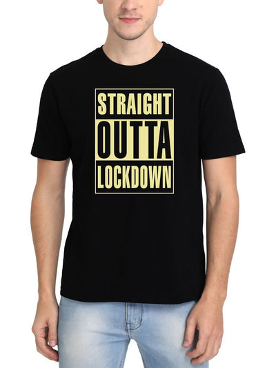 Straight Outta Lockdown Men's Black Round Neck T-Shirt - DrunkenMonk