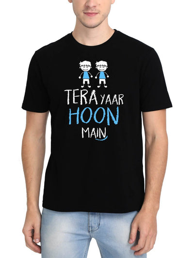 Tera Yaar Hoon Main Men's Black Hindi Movie Round Neck T-Shirt - DrunkenMonk