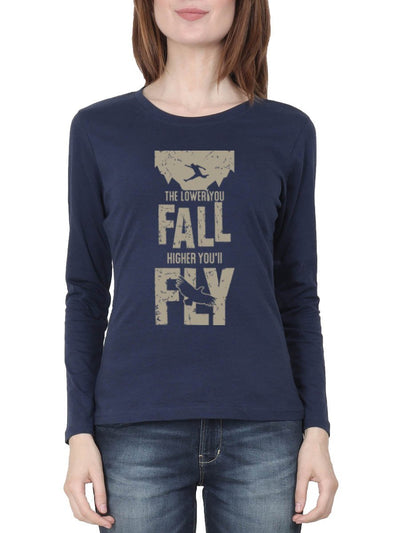 The Lower You Fall Higher You'll Fly - Fight Club Women's Navy Blue Full Sleeve Round Neck T-Shirt - DrunkenMonk