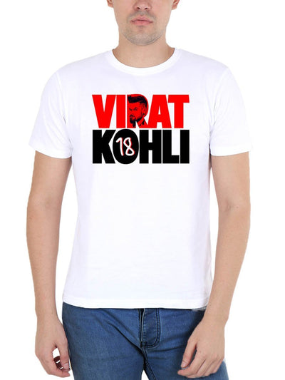 Virat Kohli - 18 Men's White Round Neck T-Shirt - DrunkenMonk