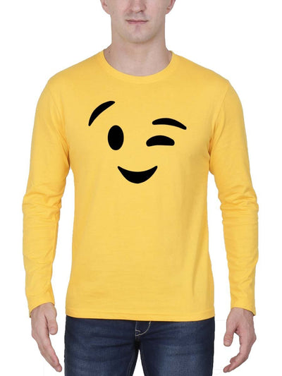 Wink Emoji Men's Yellow Full Sleeve Round Neck T-Shirt - DrunkenMonk