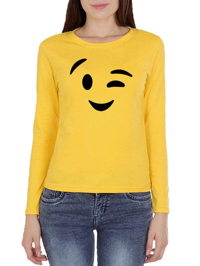 Wink Emoji Women's Yellow Full Sleeve Round Neck T-Shirt - DrunkenMonk