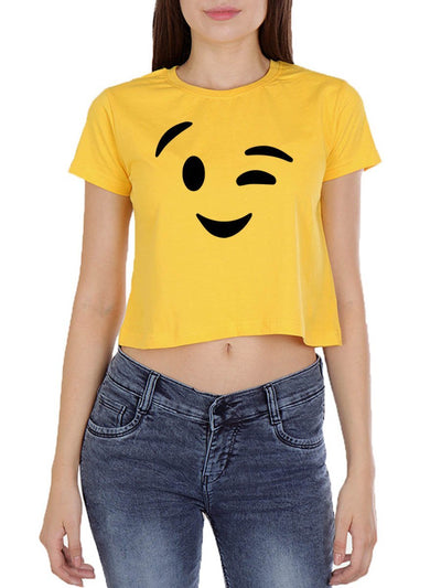Wink Emoji Women's Yellow Half Sleeve Crop Top - DrunkenMonk