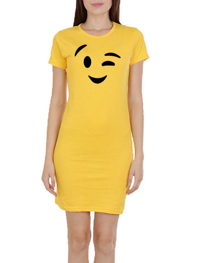 Wink Emoji Women's Yellow Half Sleeve T-Shirt Dress - DrunkenMonk