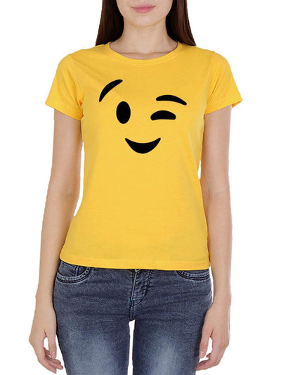 Wink Emoji Women's Yellow Round Neck T-Shirt - DrunkenMonk