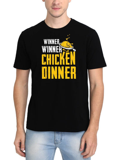 Winner Winner Chicken Dinner PUBG Men's Black Round Neck T-Shirt - DrunkenMonk