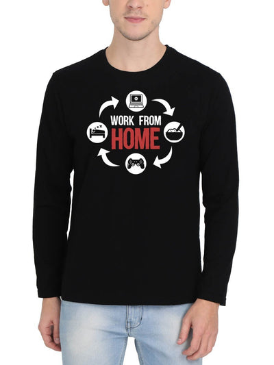 Work From Home Men's Black Full Sleeve Round Neck T-Shirt - DrunkenMonk