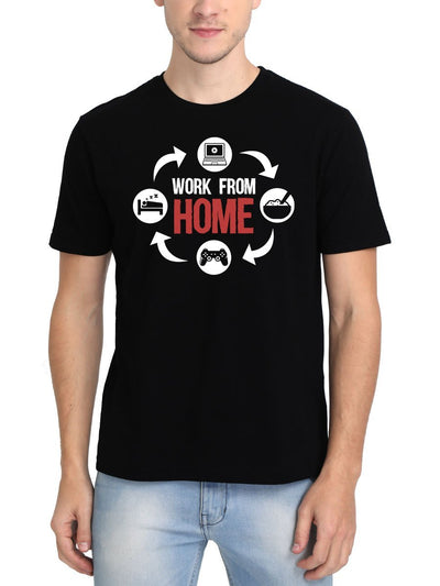 Work From Home Men's Black Round Neck T-Shirt - DrunkenMonk
