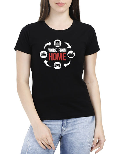 Work From Home Women's Black Half Sleeve Round Neck T-Shirt - DrunkenMonk