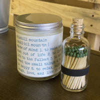 GIFT SET | 7.5 oz Molehill Mountain Apothecary Candle + Small GREEN Matchstick Bottle | 100% Natural Soy Wax