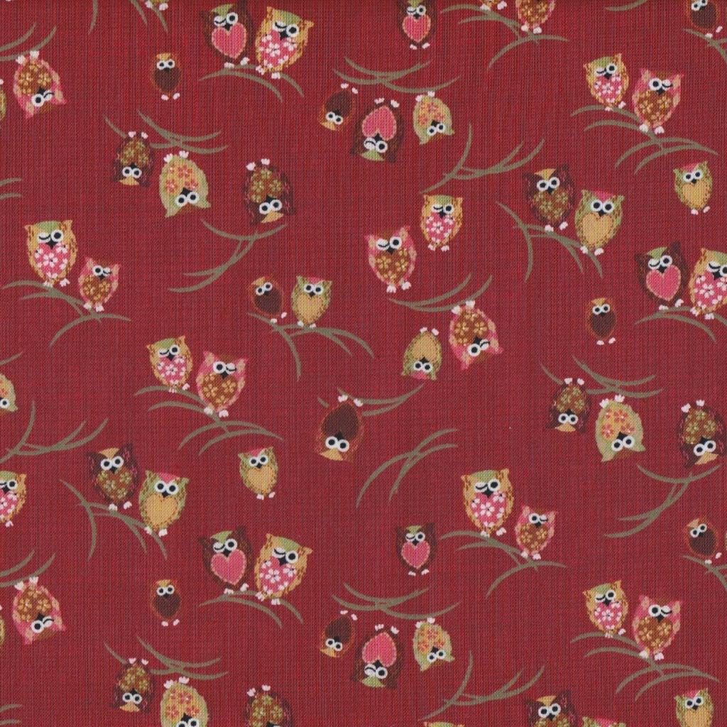 Japanese Owls on Red