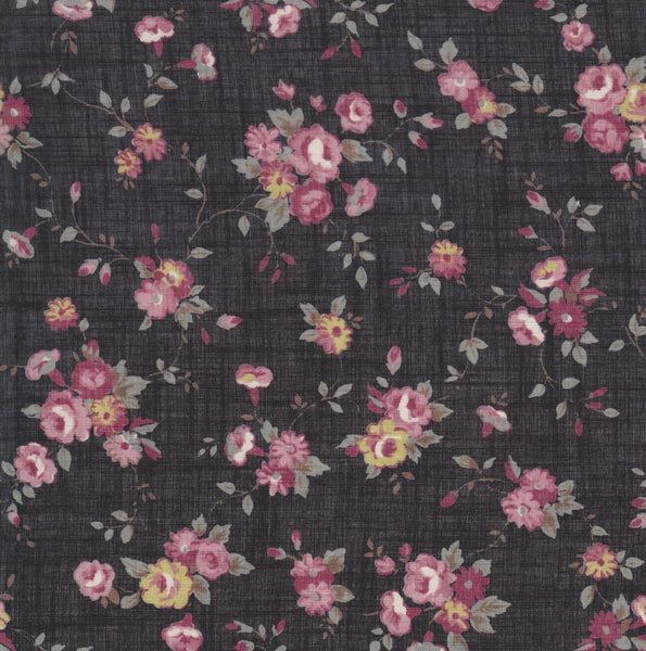 32 inch Partial Yard Floral Print on Black