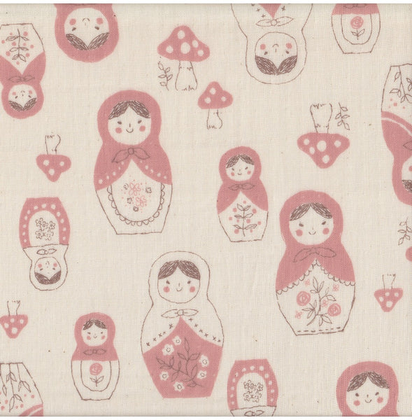 32 inch Partial Yard Double Gauze Matryoshka Dolls on Natural