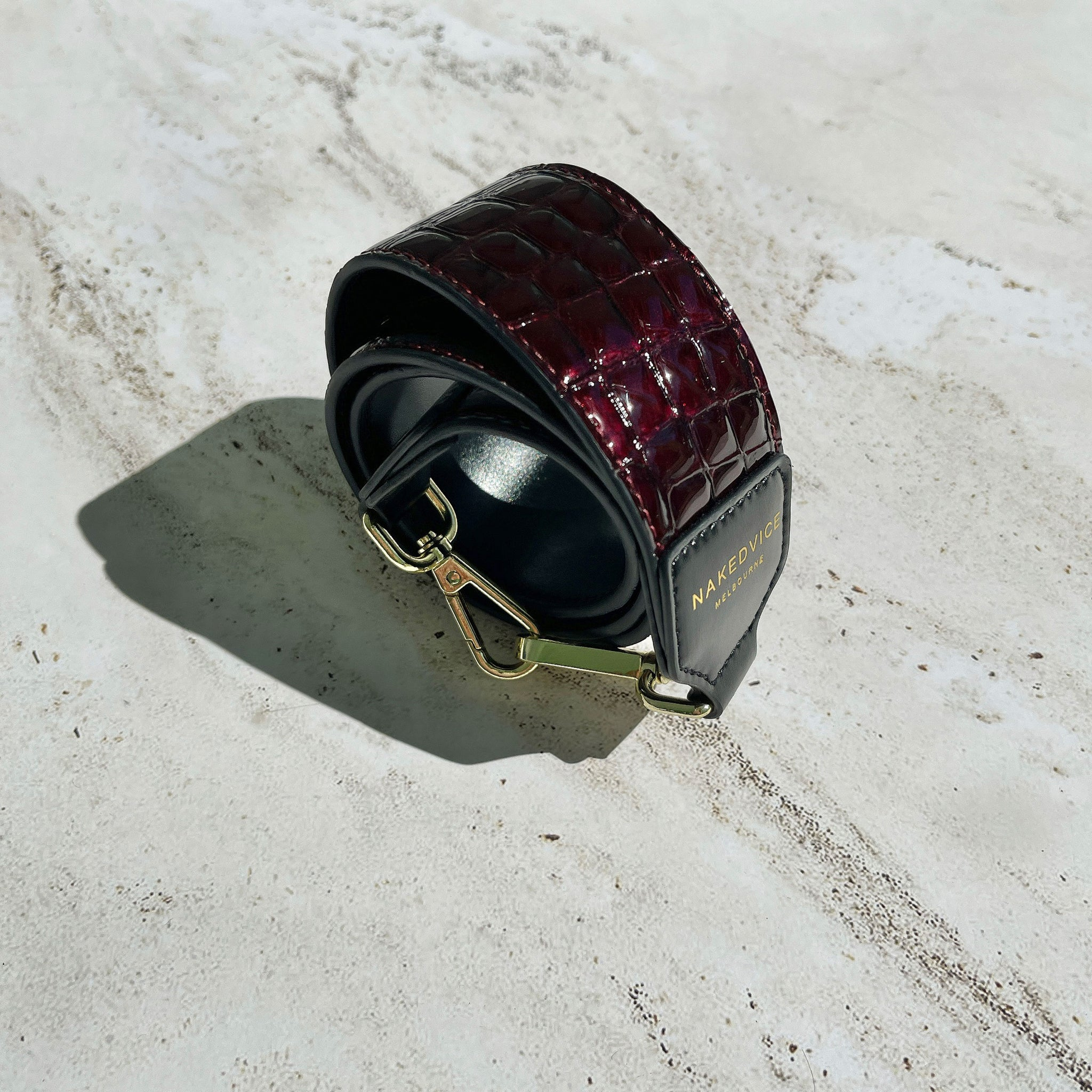 THE BURGUNDY CROC EMBOSSED STRAP