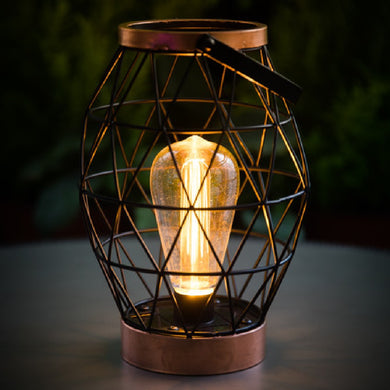 Industrial Chic Geo Battery Powered Table Lantern