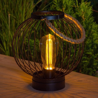Industrial Chic Black Metal Round Battery Powered Lantern
