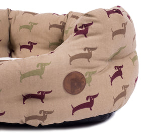 Country Dog Print Oval Dog Bed