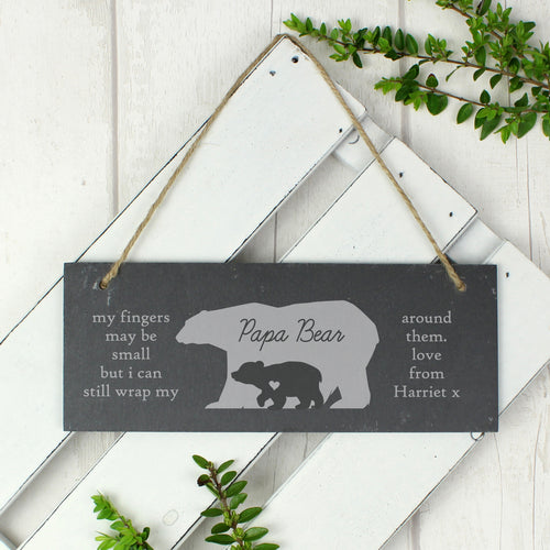 Personalised Bear Slate Hanging Sign