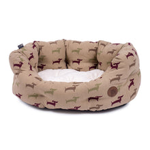 Load image into Gallery viewer, Country Dog Print Oval Dog Bed