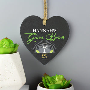 Personalised Gin Bar Slate Heart Hanging Decoration