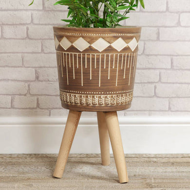 Aztec Style Planter - Large / Brown Diamond Design