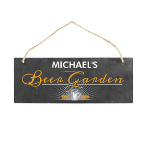 Personalised Beer Garden Slate Hanging Sign