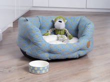 Load image into Gallery viewer, Blue Multispot Oval Dog Bed