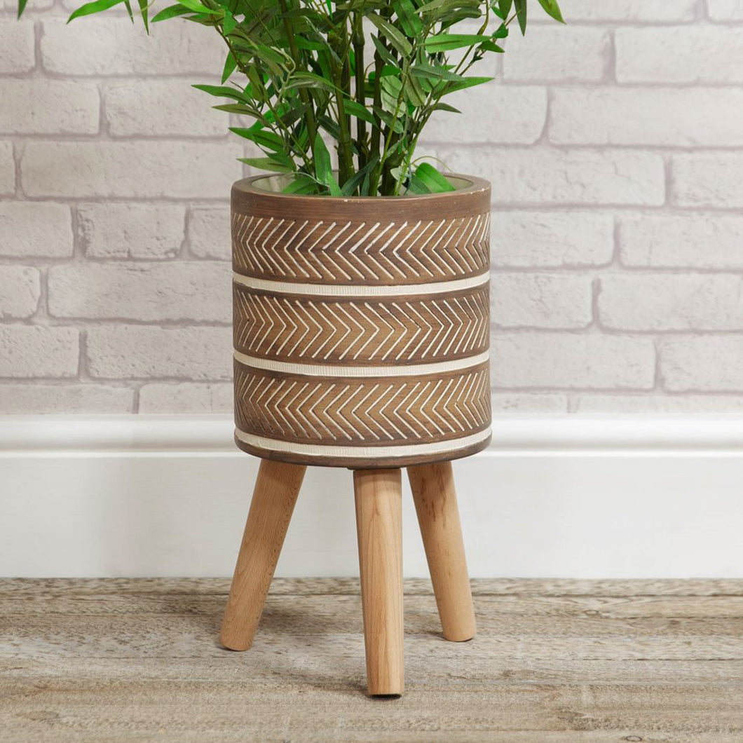 Aztec Style Planter - Small /  Brown Chevrons