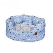 Load image into Gallery viewer, Coastal Print Oval Dog Bed