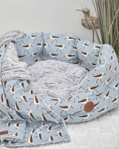 Coastal Print Oval Dog Bed