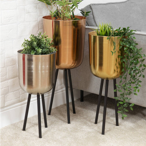 Copper, Gold And Silver Planter Set