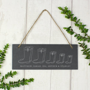 Personalised Welly Boot Family Hanging Slate Sign
