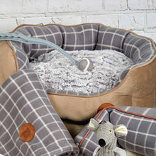 Load image into Gallery viewer, Grey Checked Oval Dog Bed
