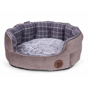 Grey Checked Oval Dog Bed