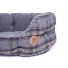 Load image into Gallery viewer, Grey Tweed Oval Dog Bed