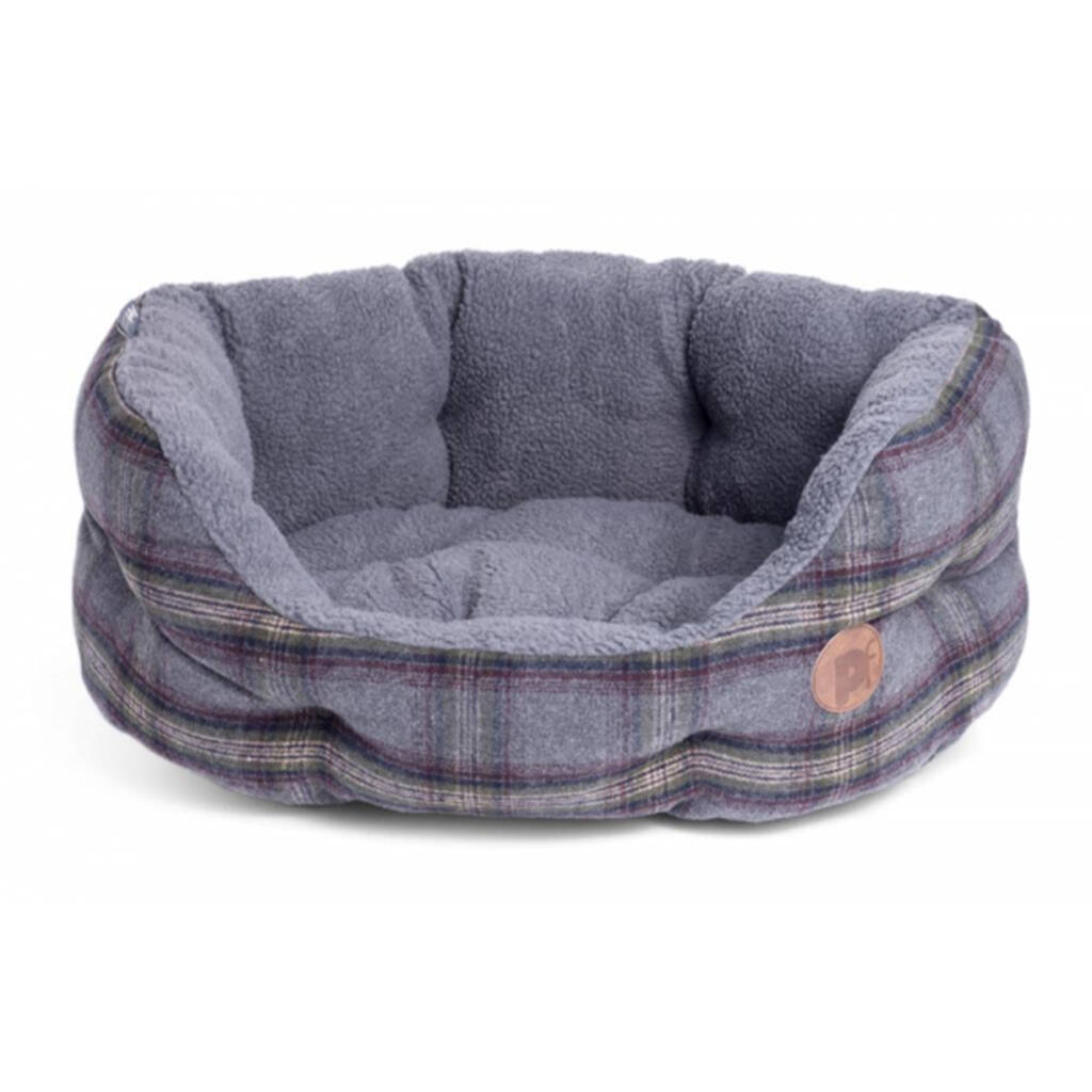Grey Tweed Oval Dog Bed