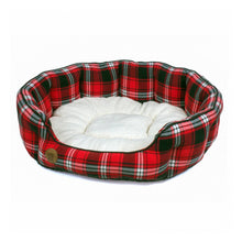 Load image into Gallery viewer, Highland Red Tartan Oval Dog Bed