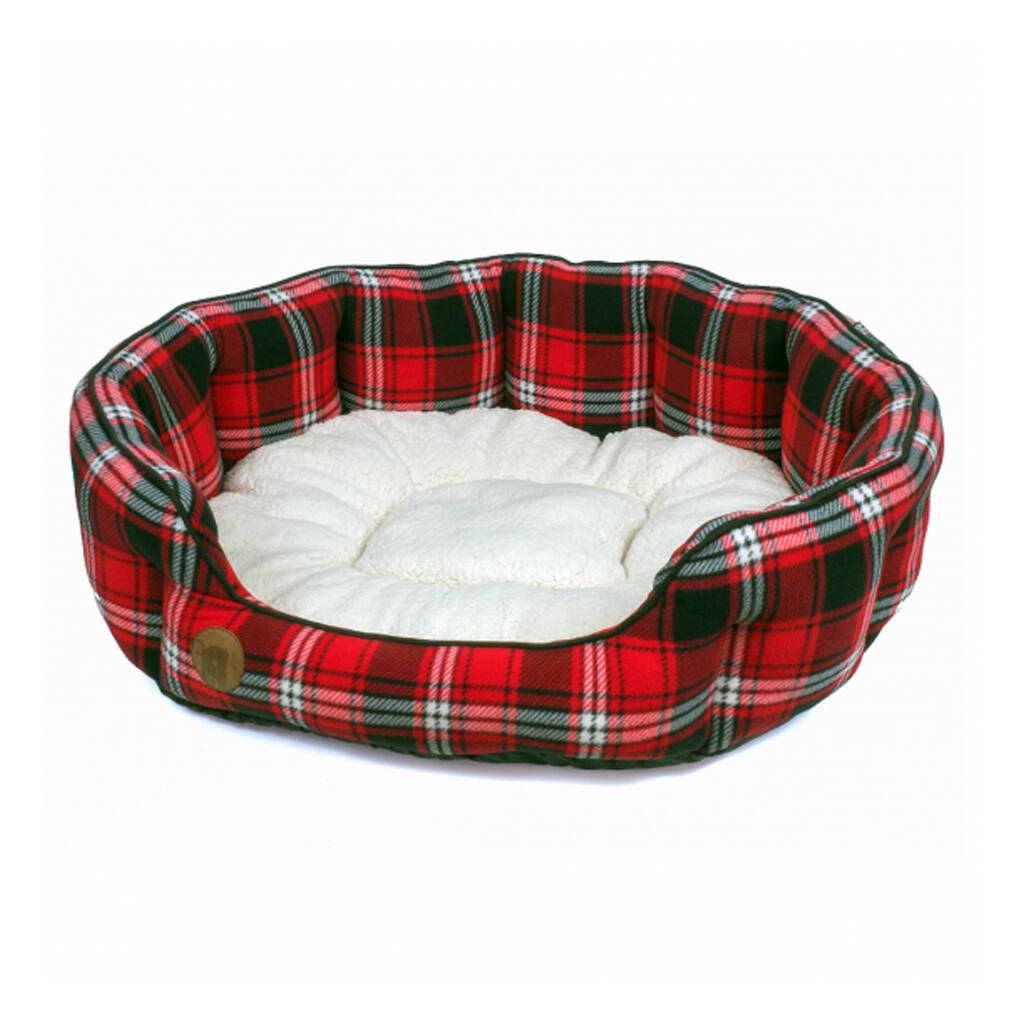 Highland Red Tartan Oval Dog Bed